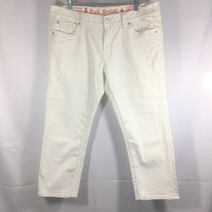 Rock Revival White Sundee Easy Crop Size 34 Jeans